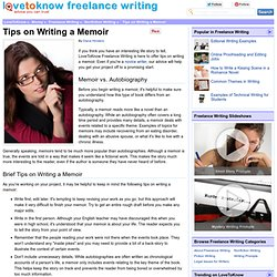 Tips on Writing a Memoir - LoveToKnow Freelance Writing