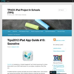 Tips2012 iPad App Guide #10: Socrative