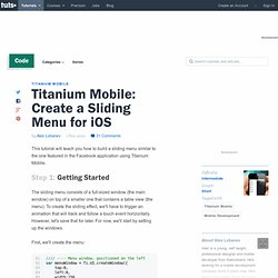 Create a Sliding Menu for iOS