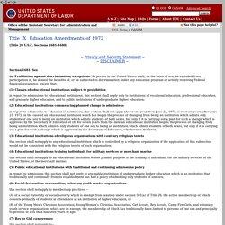 Title IX, Education Amendments of 1972