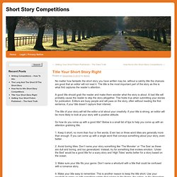 Title Your Short Story Right | Short Story Competitions