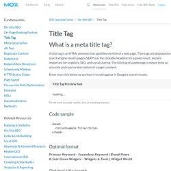 Title Tag - Learn SEO