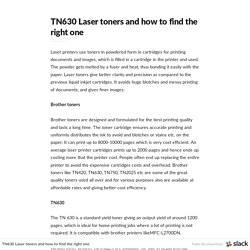 TN630 Laser toners and how to find the right one