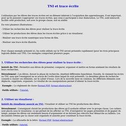 TNI et trace écrite