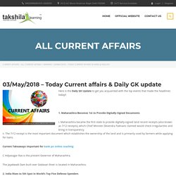 03/May/2018 – Today Current affairs & Daily GK update for SBI / IBPS