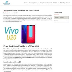 Today launch-Vivo U20 Price and Specification