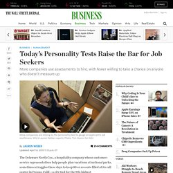 Today's Personality Tests Raise the Bar for Job Seekers