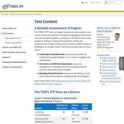 TOEFL ITP Assessments: Test Content