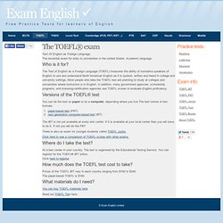 TOEFL test - information about the exam and links to free practice tests