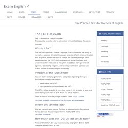 TOEFL® test - information about the exam and links to free practice tests