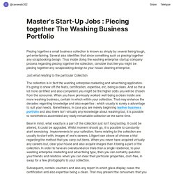 Master's Start-Up Jobs : Piecing together The Washing Business Portfolio