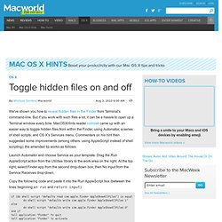 Toggle hidden files on and off | Mac OS X | Mac OS X Hints