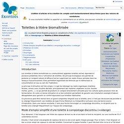 Toilettes à litière biomaîtrisée