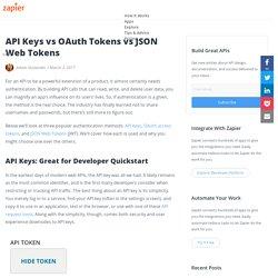 API Keys vs OAuth Tokens vs JSON Web Tokens - The Zapier Engineering Blog