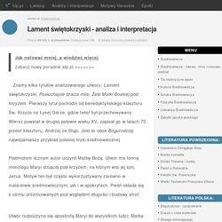 Lament świętokrzyski - analiza i interpretacja - klp.pl