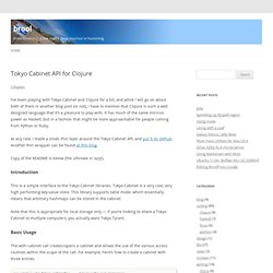 brool » Tokyo Cabinet API for Clojure