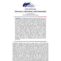 Tolerance, Liberalism, and Community