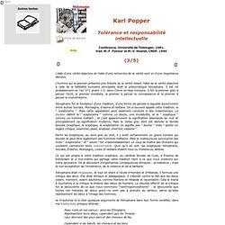 Popper, Tolérance et responsabilité, 3