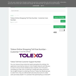 Tolexo Online Shopping Toll Free Number - Customer Care Number