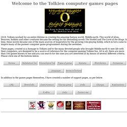Tolkien computer games