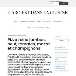 Pizza reine jambon, oeuf, tomates, mozza et champignons