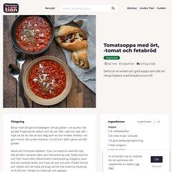 Tomatsoppa med ört, -tomat och fetabröd