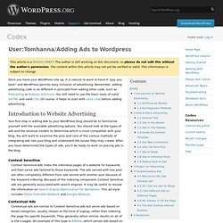 User:Tomhanna/Adding Ads to Wordpress