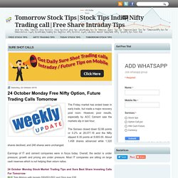 24 October Monday Free Nifty Option, Future Trading Calls Tomorrow