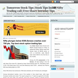 Nifty plunges below 8300,Sensex crashes over 700 pts, Top best stock option trading tips