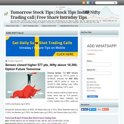 Sensex closed higher 577 pts, Nifty above 10,300, Option Future Tomorrow