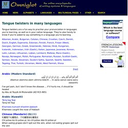 Tongue twisters in many languages