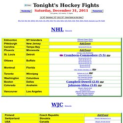 Tonight's Hockey Fights - Dec 31, 2011