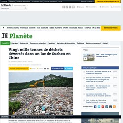 Vingt mille tonnes de déchets déversés dans un lac de Suzhou en Chine