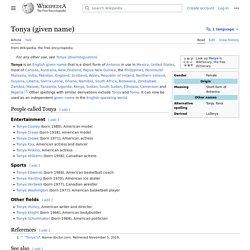 Tonya (given name)
