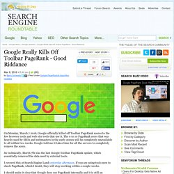 Google Toolbar PageRank Is Now Officially Dead