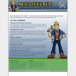 Neil's Toolbox :: A Collection of Useful Tools and Resources | Neil's Toolbox