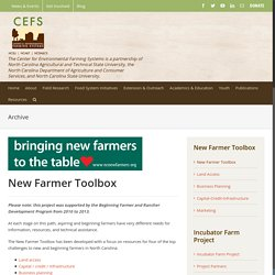 New Farmer Toolbox – Center for Environmental Farming Systems