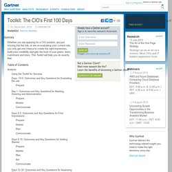 Toolkit: The CIO's First 100 Days