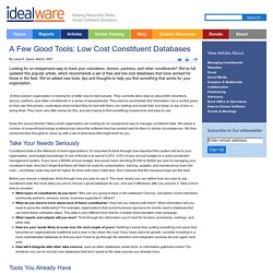 A Few Good Tools: Low Cost Constituent Databases