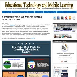 Educational Technology and Mobile Learning: 12 of The Best Tools and Apps for Creating Educational Games