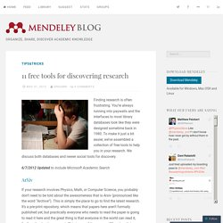 11 free tools for discovering research