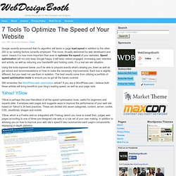 7 Tools To Optimize The Speed of Your Website
