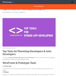 Top 10 Tools for PhoneGap Developers & Ionic Developers
