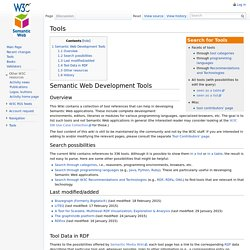 Tools - Semantic Web Standards