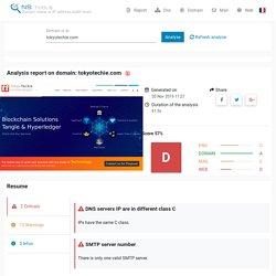 NS.tools: TOKYOTECHIE.COM - Check DNS, MX and whois test domain tokyotechie.com