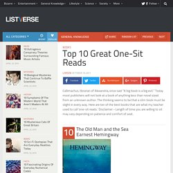 Top 10 Great One-Sit Reads
