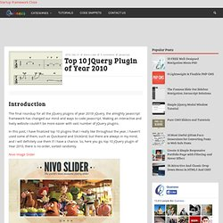 Top 10 jQuery Plugin of Year 2010