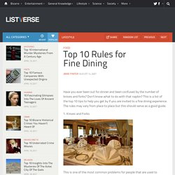 Top 10 Rules for Fine Dining