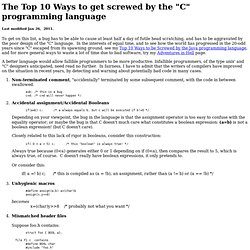 "Top 10 Ways to be Screwed by ""C"""