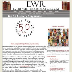 Top 50 Literary Magazines